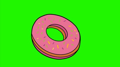 2d Animation motion graphics of a color drawing of junk foods like doughnut or donut, French fries, burger, pizza pie and cola soft drink morphing into each other on white and green screen in HD.