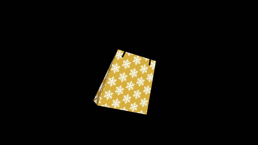 Alpha channel file ,Appeared Shopping bag animation - single object, snowflake pattern gold color | Shutterstock HD Video #1020594376