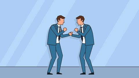 Flat cartoon business people man characters  boxing fight standoff rivalry concept animation