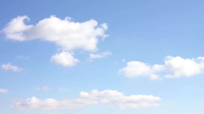 Very nice blue soft sky, white fast moving clouds, time lapse summer sunny weather, Neautiful real colourful season, clean day, horizon, panorama view. #1020709786
