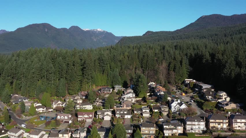 A perfect neighbourhood. Houses in suburb at Summer in the north America. Luxury houses with nice landscape. Aerial drone view. | Shutterstock HD Video #1020792046