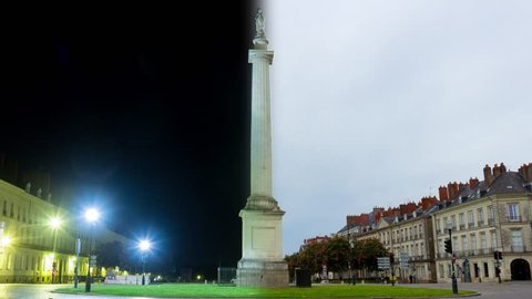 Day and night Timelapse at Place Foch in Nantes, France