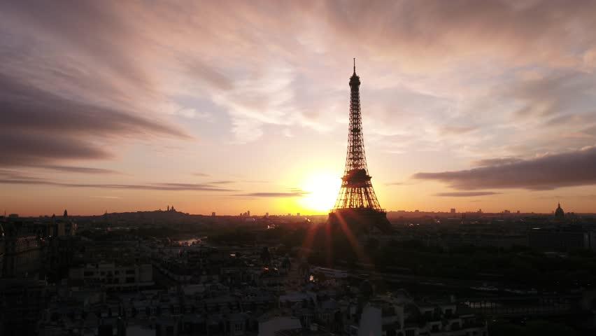 Eiffel Tower city Paris aerial view   Shutterstock HD Video #1020818176