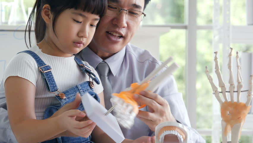 Little girl looking to anatomy model and listening scientist describe. People with science and education concept. | Shutterstock HD Video #1020857566