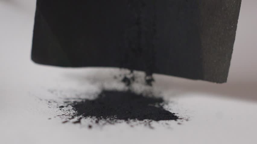 Coal black Powder Falling Against White Background, Slow Motion. painting art process to draw black coil  | Shutterstock HD Video #1020871516
