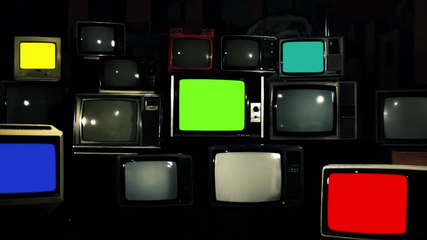 "Vintage Tvs with Color Screens Turning On. Aesthetics of the 80s. Iron Tone. Zoom In. Ready to Replace Each Color Screens with any Footage or Picture you Want. You can do it with ""Keying"" Effect. 