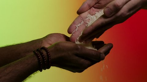 Hands of white man giving rice grains to another hands of afroamerican, isolated on bright background. Pouring rice from hands to hands, humanitarian aid, helping to poor countries concept.