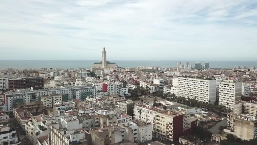Aerial view of the city of Casablanca, kingdom of Morocco (Ungraded Log-C)