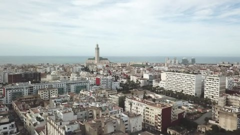 Aerial view of the city of Casablanca, kingdom of Morocco (Ungraded Log-C)