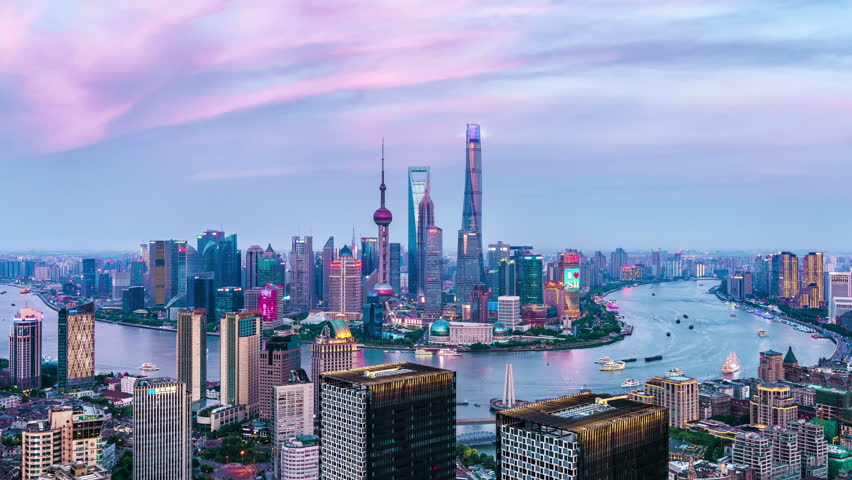 SHANGHAI CHINA- CIRCA MAY 2018: Aerial view of the modern buildings with Huang-Pu River circa May 2018 in Shanghai China. | Shutterstock HD Video #1021112506
