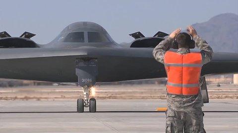 CIRCA 2017 - A B-2 Spirit Stealth taxis at Whiteman Air Force Base.