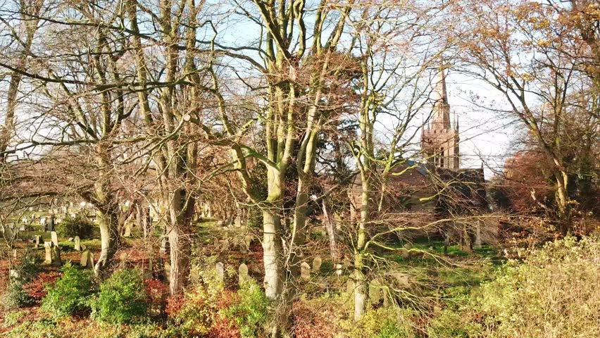 Left panning shot looking through Autumn leafless trees through to churchyard & church in background. | Shutterstock HD Video #1021179466