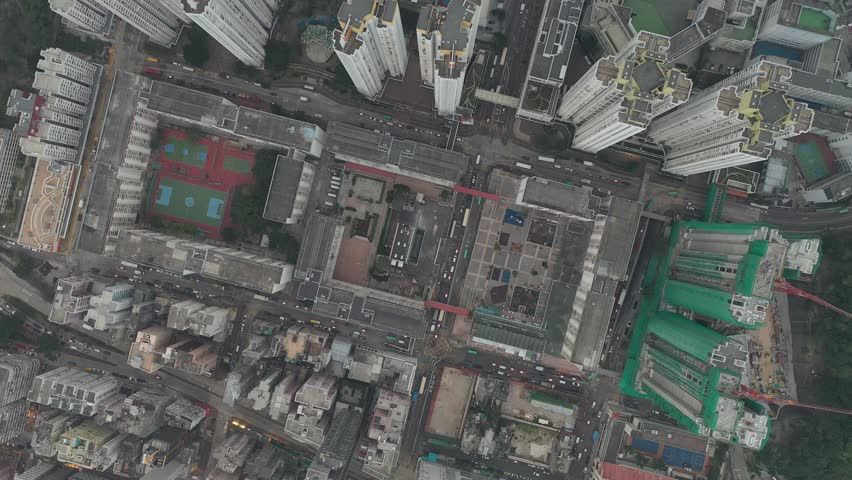 Aerial view of crowded Hong Kong housing and building | Shutterstock HD Video #1021205596