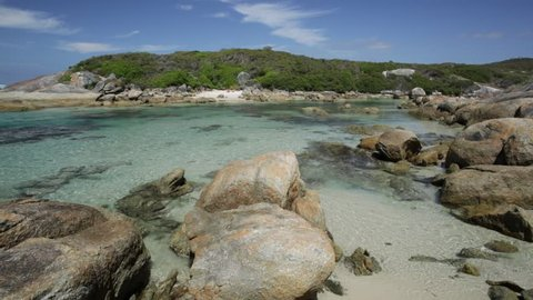 William Bay National Park, Denmark and Albany Region, Western Australia. Tropical landscape of sheltered waters of Madfish Beach surrounded by rock formations. Popular summer destination in Australia.