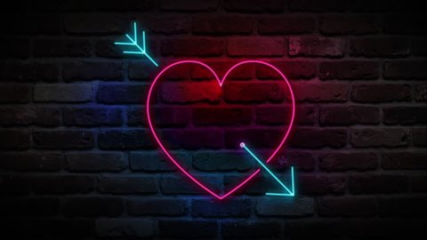 Heart With Arrow neon sign, love neon symbol