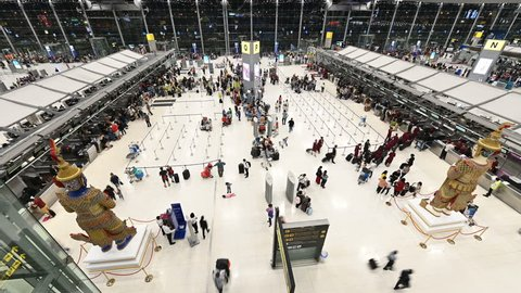 4K Time lapse of people and passenger waiting in the queue for checking at Suvarnabhumi Airport