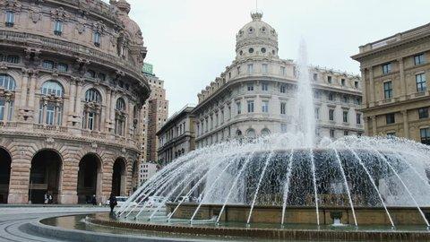 Genova fountain Piazza de Ferrari water jet square big plaza italian vacation landmarks .