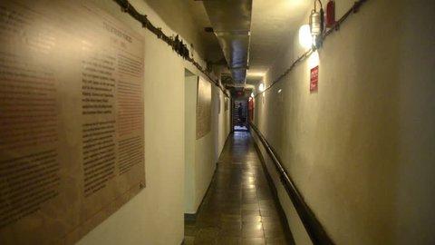 Tirana, Albania, November 01, 2018: Former Nuclear Bunker in Tirana, Albania. Bunker Museum, Bunk' Art. Secret communist-era cold war bunkers. Historic concrete and steel underground bunker.