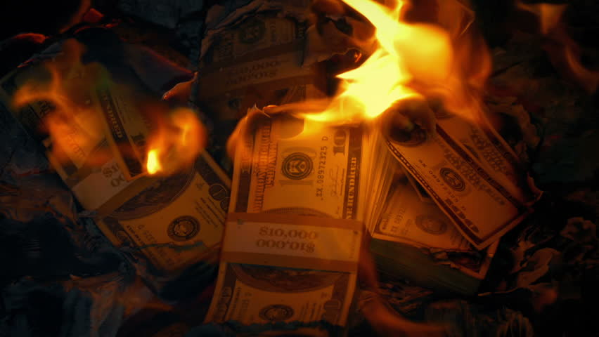 Pile Of Dollars On Fire | Shutterstock HD Video #1021349536