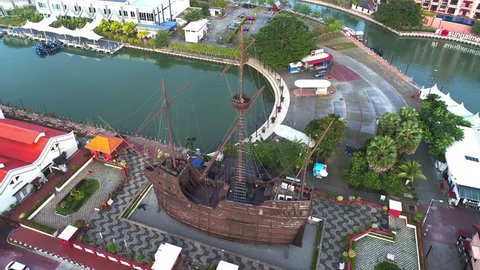 Melacca, Malaysia. December 06, 2018. Aerial view of Portuguese ship at Melaka Maritime Museum, is a replica of the Flor de la Mar, a Portuguese ship melacca history.