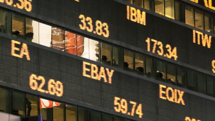 Illuminated stock market ticker  | Shutterstock HD Video #10213727