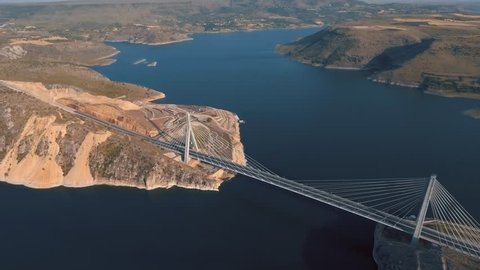 The Nissibi Euphrates Bridge is a cable-stayed bridge completed on May 21, 2015, spanning the Lake Ataturk Dam on the Euphrates River at the provincial border of Adiyaman – Sanliurfa.