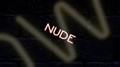 Many neon signs with text (Girls, Live Show, Nude, Topless, Open, Peep, Private, Sexy, Strip Club, XXX) coming to the viewer with a rotation, with a brick wall surface as a background.