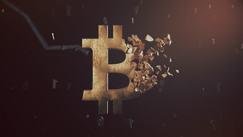 Old rusty bitcoin logo crushing into small pieces video animation