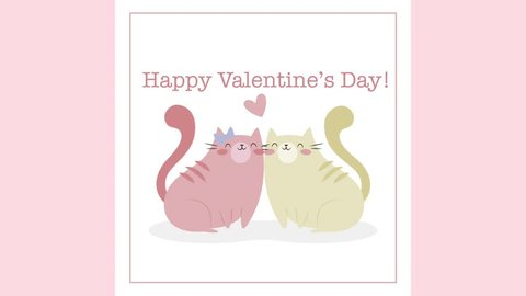 Valentine's Day Funny Cats Greeting Card Square Instagram Animation Put Your Logo / Name At The End