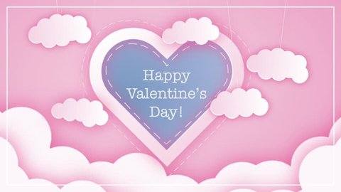 Saint Valentine's Day Cute Clouds Greeting Card Animation HD Loop