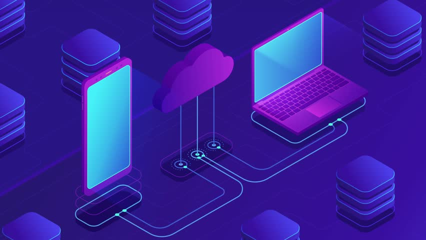Isometric cloud storage loopable concept. Synchronization backend cloud data storage with laptop, smartphone on ultraviolet background. Upload download data transfer. 4K seamless loop video footage. | Shutterstock HD Video #1021504126