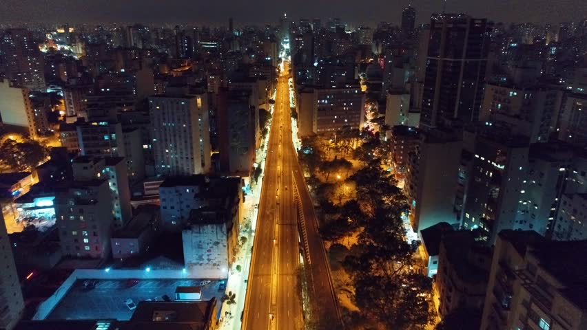 Aerial view of São Paulo city at night, Brazil. Great night fly scene. Fantastic landscape. Business city. Business travel. Business concept. Night scene. Night vision of city.  | Shutterstock HD Video #1021520926