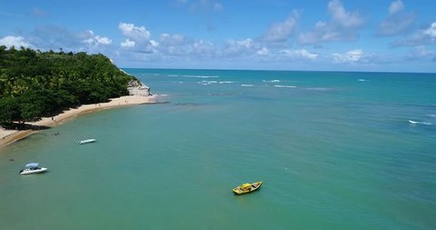 Aerial view of Trancoso beach, Bahia, Brazil. Great beach scene. Fantastic landscape. Vacation travel. Travel destination. Vacation concept. Espelho's beach. Paradisiac beach. Tropical travel.
