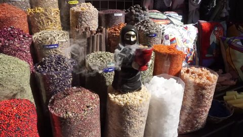 Bur Dubai Souk Common Shop Offering Oriental Spices Dried Fruits Souvenirs and Sculpture with Frankincense