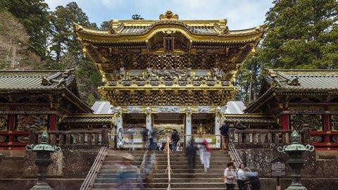 NIKKO / JAPAN - APRIL 2018: Toshogu Nikko Temple Timelapse. ProRes 422 in 4k