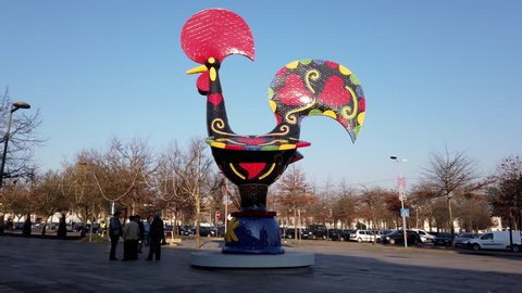 BARCELOS, PORTUGAL - CIRCA JAUARY 2019: View at the Pop Galo, public art inspired in the Barcelos cock, cosidered one of the most important symbols of Portuguese popular culture.