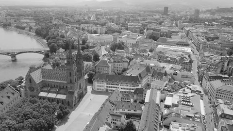 a black and white movie of Basel and the Rhine