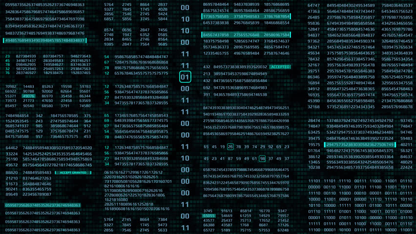 HUD Futuristic Digital Data Number Code Animation For Screensaver, Background. Motion Abstract Binary Decimal Statistics Monitor Display. | Shutterstock HD Video #1021791796
