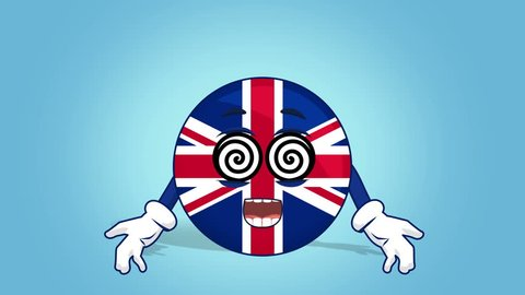 Cartoon Great Britain United Kingdom be Under Hypnosis with Face Animation with Alpha Matte