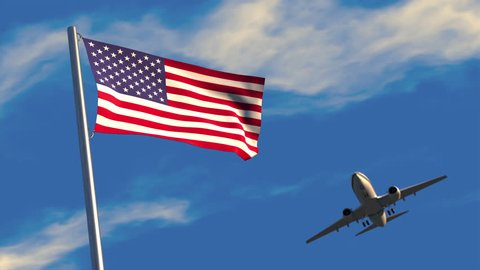 3D animation of a jet airliner flying over an American flag waving on a flagpole.