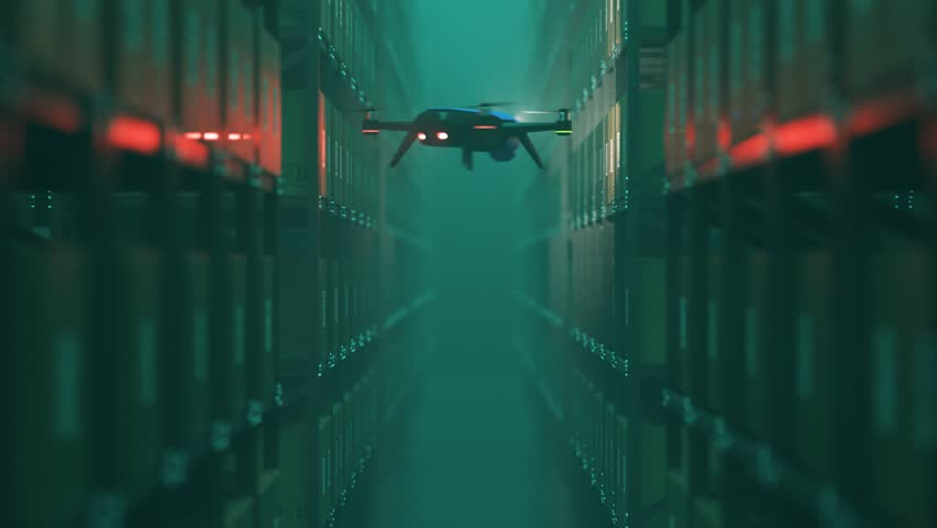 Animation with warehouse drone scanning QR codes on the cardboard boxes in a metal shelf.  Fully automatic unmanned system of cargo distribution. Computer coordinated efficient logistic process. 4K.