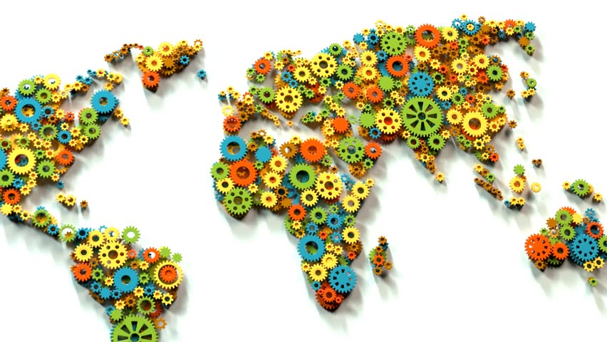 World map created with spinning plastic gears. Clockwork machinery in motion. Industrial construction. Symbol of politician and economic cooperation. Perfect for educational purposes.    Shutterstock HD Video #1021829776