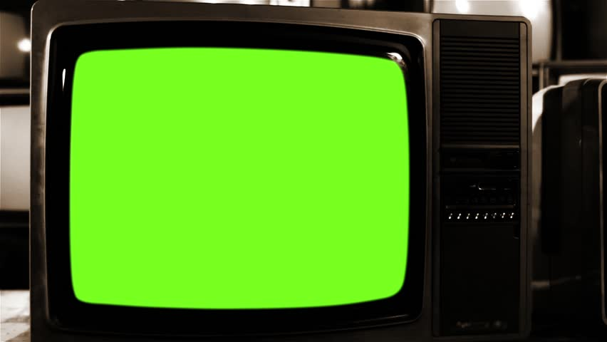 Vintage Tv Turning On Green Screen. Sepia Tone.   Shutterstock HD Video #1021884136