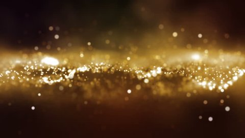 Abstract motion background shining gold particles stars sparks wave movement loop