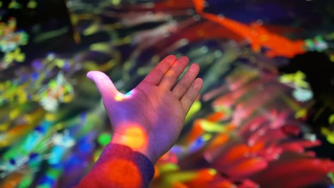 "HELSINKI, FINLAND - JAN 06, 2019: ""Massless"" Exhibition - immersive interactive graphic digital installations by Japanese artists TeamLab at Amos Rex Museum. Visitors enjoy the modern digital art"