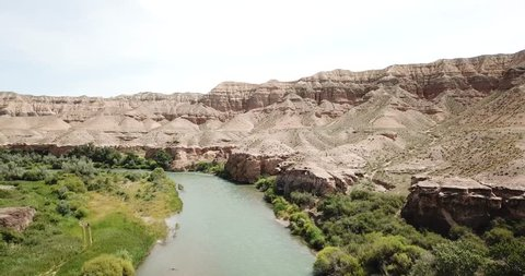The river in the canyon. On the shore there are green trees, grass, fields and yellow reeds. Shooting with the drone. The steep cliffs of the canyon. Rapid river. Flying over the river.