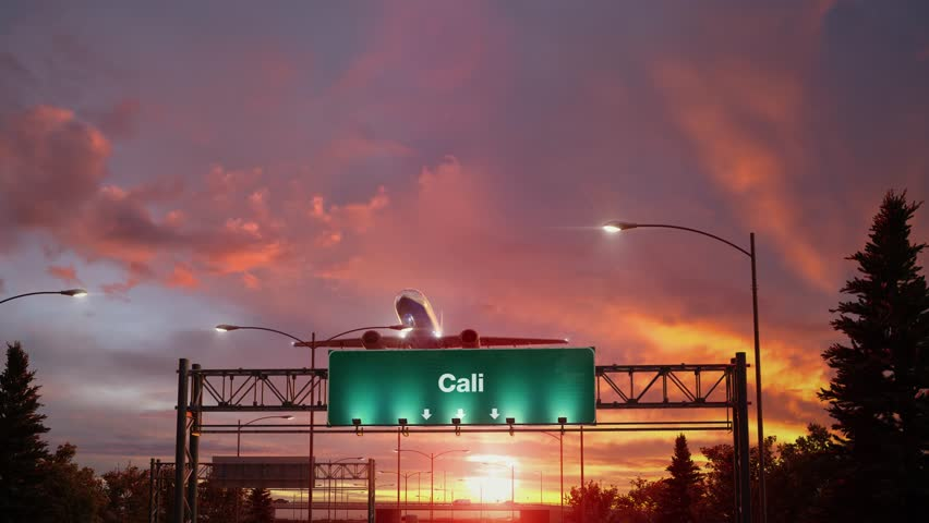 Airplane Take off Cali during a wonderful sunrise