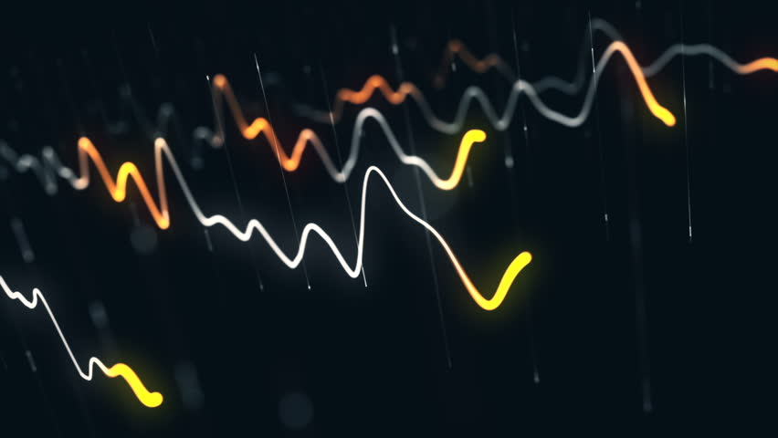 Animation growth of abstract charts with changing values of check points on dark background. Animation of seamless loop.   Shutterstock HD Video #1022110396