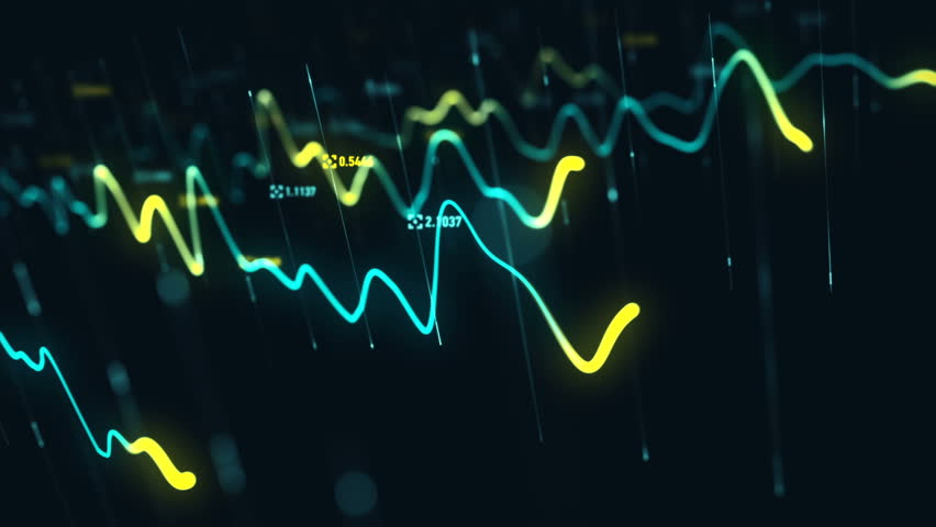 Animation growth of abstract charts with changing values of check points on dark background. Animation of seamless loop.   Shutterstock HD Video #1022110516