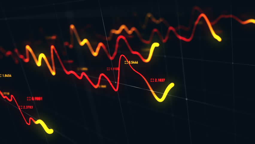 Animation growth of abstract charts with changing values of check points on dark background. Animation of seamless loop.   Shutterstock HD Video #1022110576
